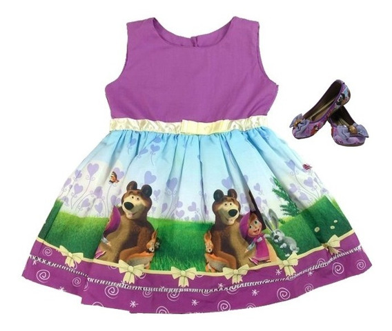 Sapatilha + Vestido Temático Masha E O Urso+tiara 8-12 Anos