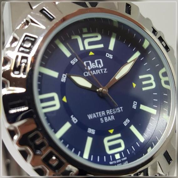 Relógio Masculino Azul Marinho Aço 50m Números Verdes Q&q