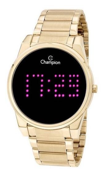Relógio Champion Dourado Digital Led Lilás Ch40053h Novo