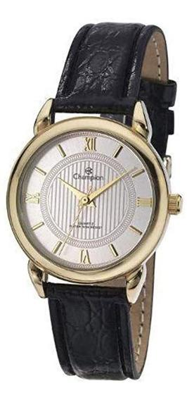 Relógio Feminino Champion Analógico Romano Couro Pt Ch24071b