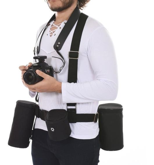 Cinto Suspensório Colete Fotógrafo Sem Cases Lente Flash