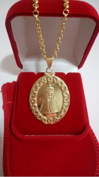 Colar 45cm Com Medalha De Nossa Senhora Aparecida Com Caixa