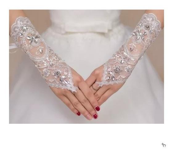 Luvas De Casamento Noiva , Debudante Em Renda Branca