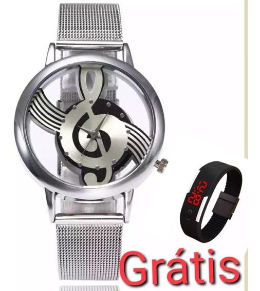 Relógio Feminino Clave De Sol + Relógio Digital Promoção