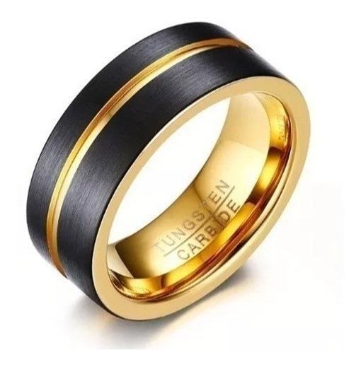 Anel Aliança Masculino Dourado Preto Fosco Tungstênio 8 Mm