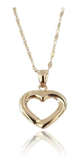Hermosa Cadena Gargantilla Dama Corazón Oro Sólido 14k