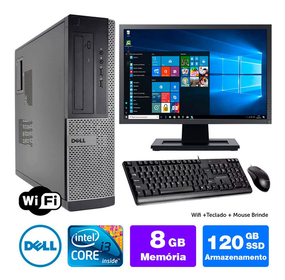 Desktop Usado Dell Optiplex 7010int I3 8gb Ssd120 Mon19w