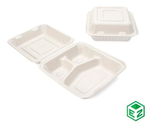 Imagen 1 de 3 de Contenedor Desechable Biodegradable 8x8 C/división 200 Pzas