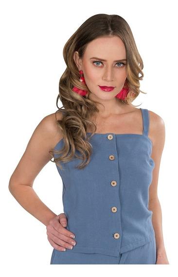 Blusa Tirantes Mujer Dama Azul Fresca Lisa N91130