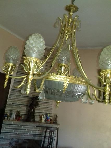 Araña Antigua De Bronce - Iluminación Luz Apliques Vintage