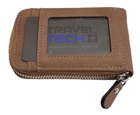 Tarjetero Organizador Travel Tech 100% Cuero Pu