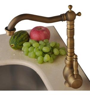 Grifo Llave Baño O Cocina Mezcladora Acabado Laton Antiguo 8