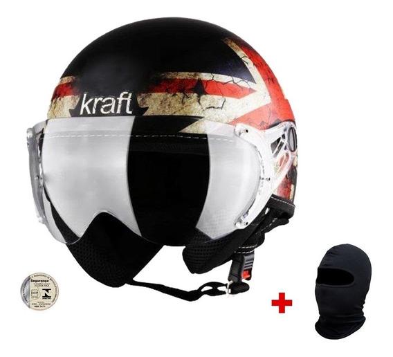 Capacete Kraft Plus Inglaterra Custom Harley + Balaclava