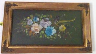 Pintura Al Oleo Color Verde Y Flores Con Marco Incluido