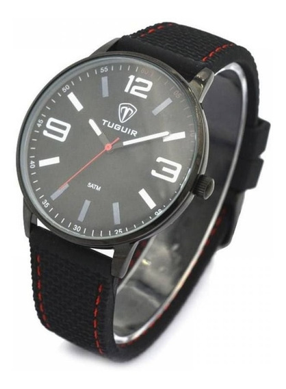 Relógio Masculino Tuguir 5046 Preto Vermelho - Nf E Garantia
