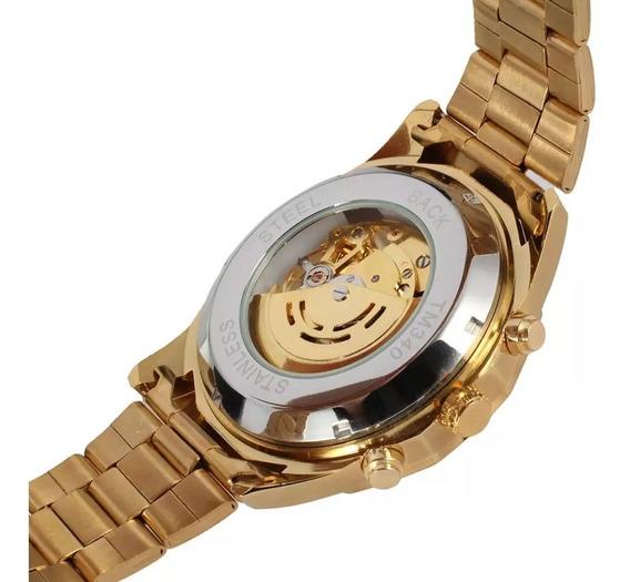 Relógio Forsining, Skeleton, Transparente,dourado Em Winner