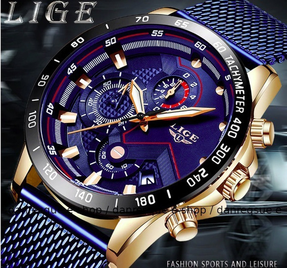 Relógio Lige Azul Cronógrafo Prova Dágua Casual Masculino