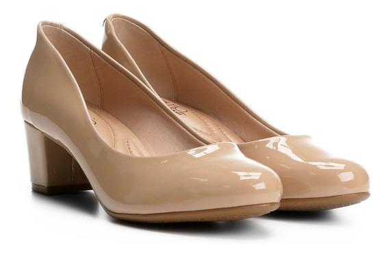Sapato Scarpin Beira Rio Conforto Verniz Nude 4777.309