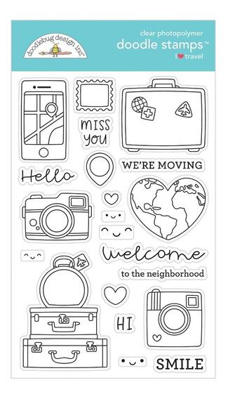 Sellos Doodlebug Scrapbook Manualidades Stamp I Travel Viaje