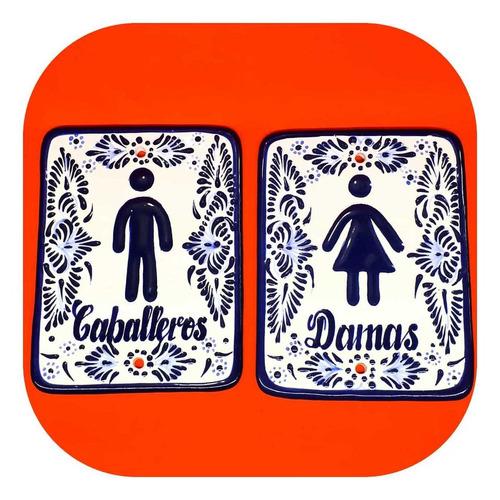 Imagen 1 de 3 de Placas Para Baño Señaletica Talavera Poblana Ps 2c