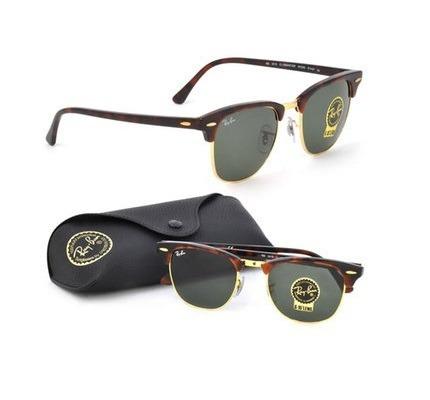 Óculos Ray-ban Clubmaster Tartaruga Verde Original Unissex