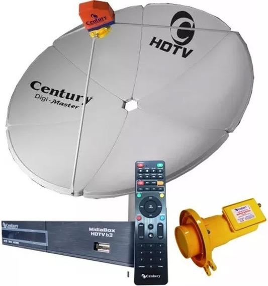 Antena Parabólica Century Chapa + Receptor Digital Midiabox