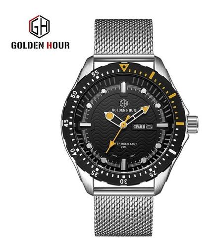 Relogio G H Golden Hour Aço Mesh Diver Militar Quartz 30m