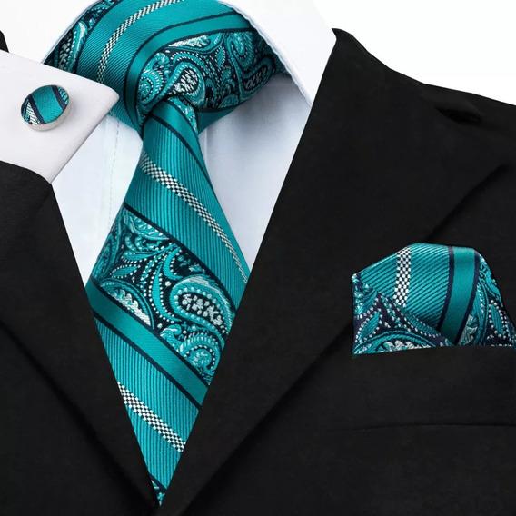 B455 Seda   Corbata Pañuelo Mancuernillas   Azul Jade Gargo