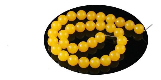Jade Amarelo Esfera Lisa 12mm Fio C/ 33 Bolas Teostone 1752