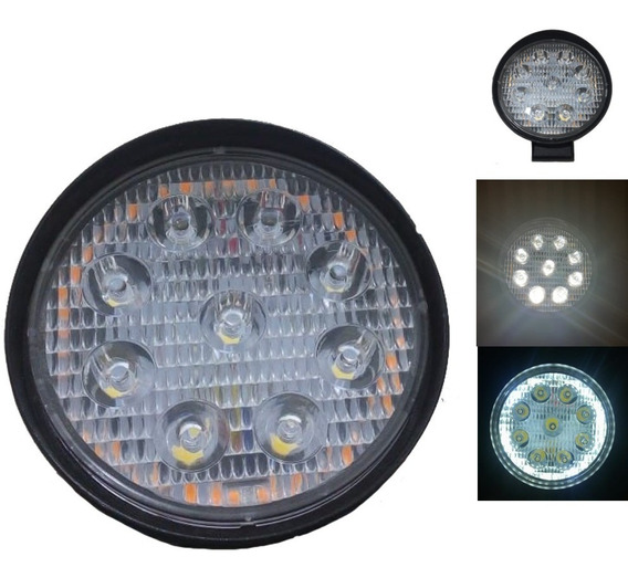 Faro Redondo 9 Led Aro Angel Blanco 12 Volts (1 Par)