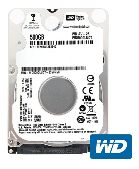 Hd Notebook 500gb Sata Western Digital Slim 7mm