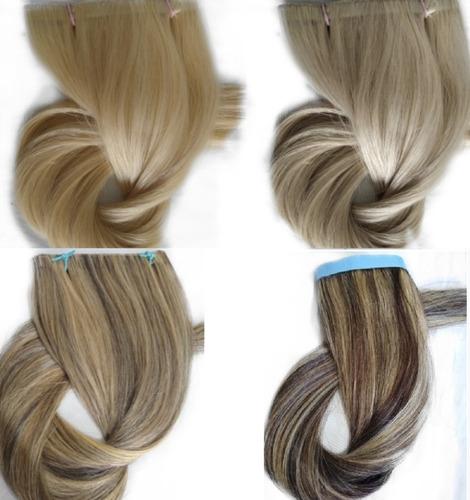 Imagem 1 de 1 de Cabelo Humano Loiro Fita Adesiva Inteira 50g 55cm Mega Hair