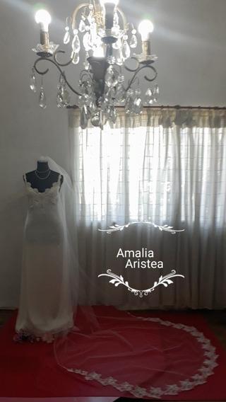 Promo!!vestido Novia +velo Bordados Strass.tul.seda Encaje