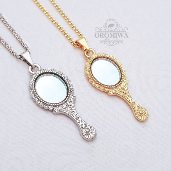Colar Espelho Abebe Oxum Banhado A Ouro Ou Ródio Oromiwa