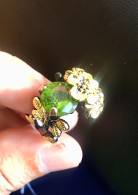 Anel Prata Com Banho De Ouro Negro, Peridoto Verde Natural