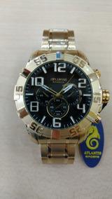 Relógio Original Atlantis Dourado Estilo Technos Robusto
