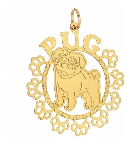 Colar Mandala Pug Folheado A Ouro