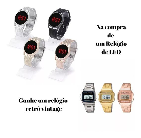 Relógio Feminino Digital De Led + Pulseira Ajustável + Caixa