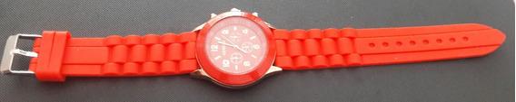 Relógio De Pulso Feminino Geneva Pulseira De Silicone