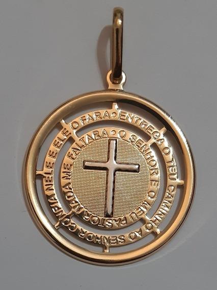Pingente Cruz Salmo 23 E 37 Folheado A Ouro 18k Nfe