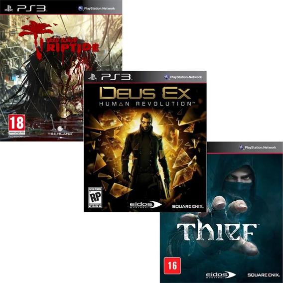 Combo De Jogos Ps3 Thief , Dead Island Riptide E Deus Ex