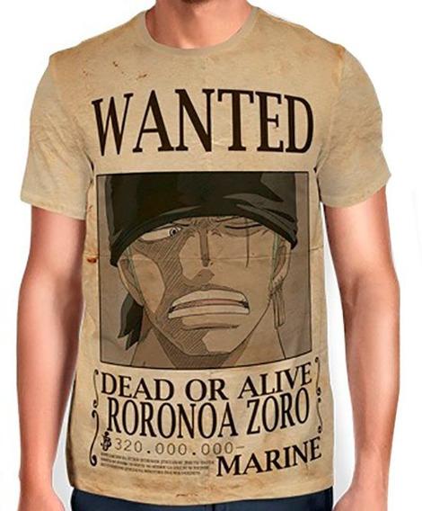 Camisas Camisetas De Animes One Piece Wanted Roronoa Zoro