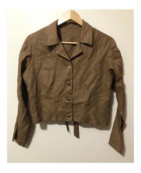 Casaqueto / Camisa Cropped Vintage M Linho Misto