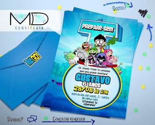 50 Convite Jovens Titans Festa De Aniversário + Frete Gratis