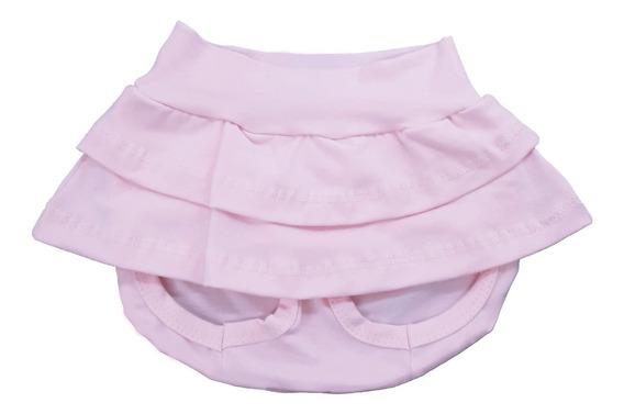Saia Shorts De Bebê Branco Charmoso Betty&loren Perfeito