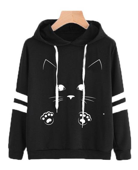 Blusa Moletom Feminino Gato Si Com Listras Estilo Tumblr F15