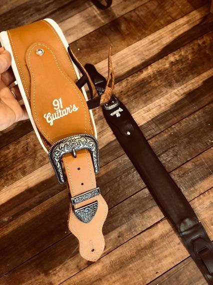 Strap Correia Couro Sela 100% Artesanal 91 Guitars