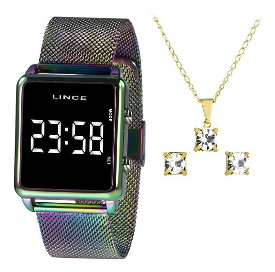 Relógio Digital Led Lince Colorido Mdt4619l Bxqx + Kit + Nfe