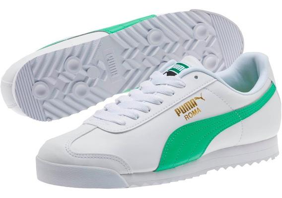 Tenis Puma Roma Hombre Blanco-verde 369571-02 Look Trendy