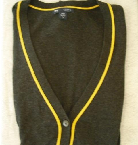 Cardigan, Mujer, Gap, Gris Oscuro Y Amarillo, T Xs, Usado
